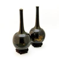 Chinese Mirror Black Kangxi Vases